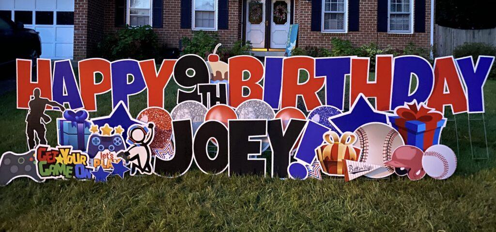 Joeys happy birthday yard card burke VA
