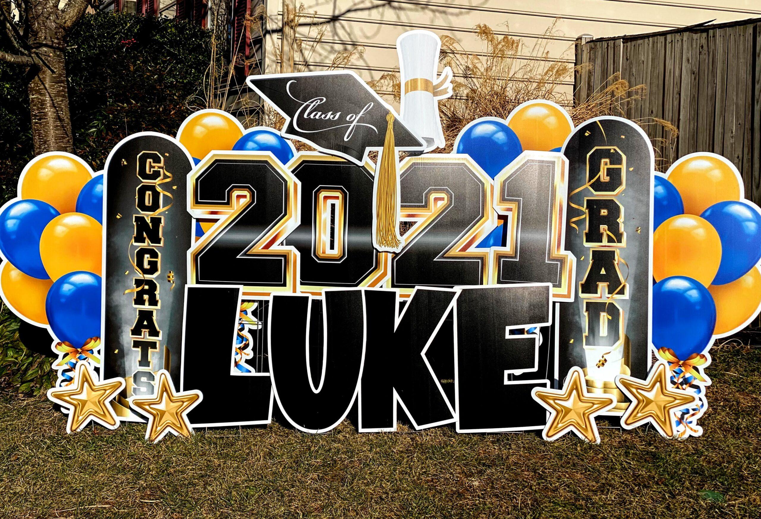 2021 graduation yard card blue and gold fairfax va