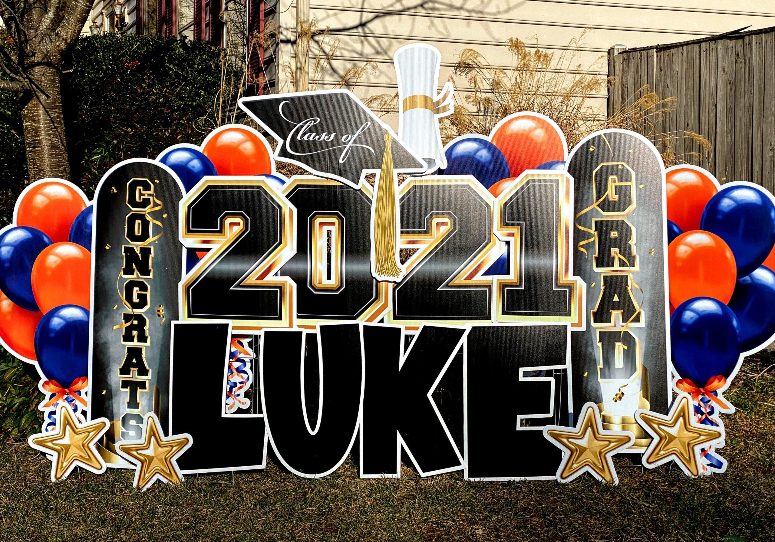 2021 graduation yard card blue and orange west springfield VA