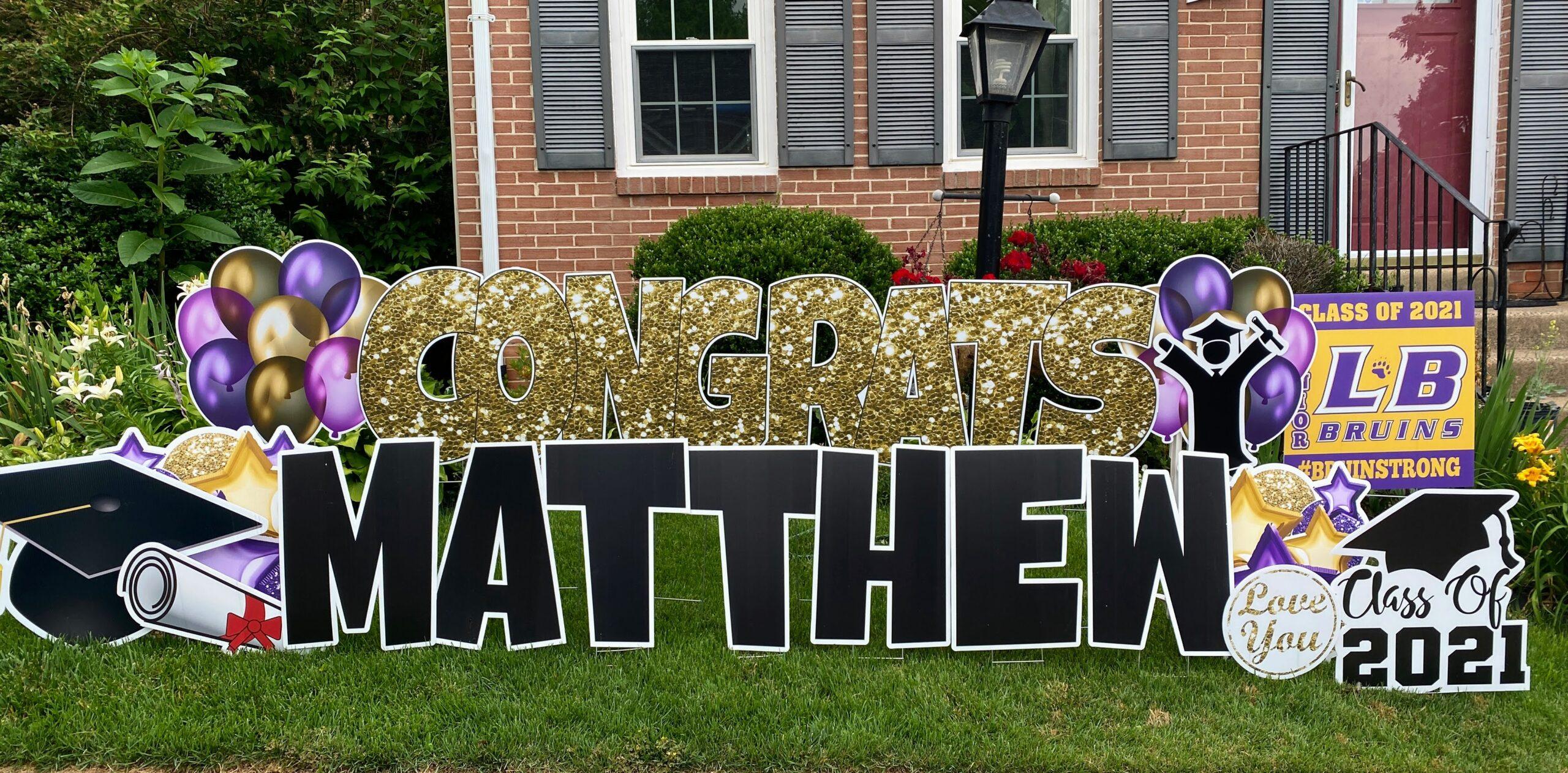 matthew congrats graduation yard card springfield va