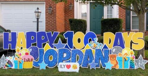 happy 100 days jordan yard greeting sign fairfax va