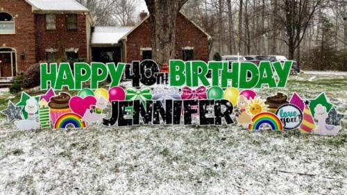 40th jennifer happy birthday yard sign burke va