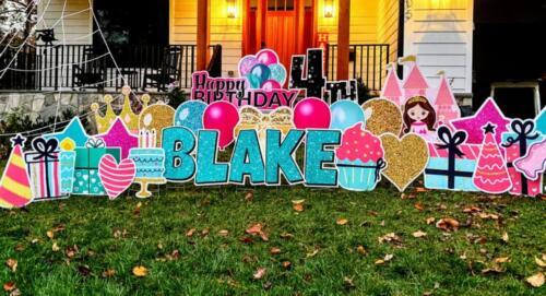 4th birthday Blake pink and teal yard card sign Burke VA