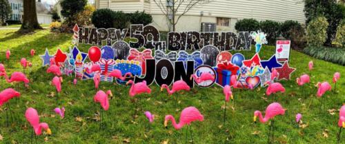 50th birthday yard card burke va with flamingos