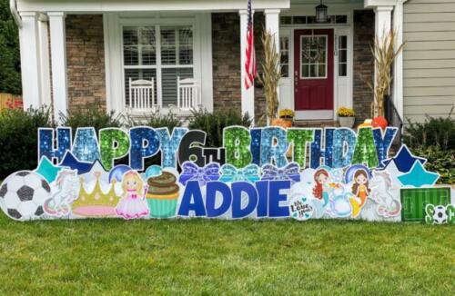 6th addie birthday yard card alexandria va