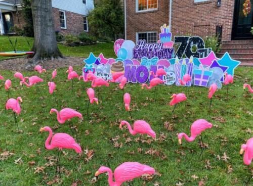 70th birthday yard flocking springfield va
