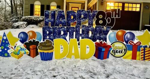 80th birthday blue sparkle yard card alexandria va