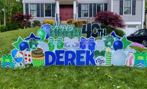 Derek happy birthday yard sign burke va