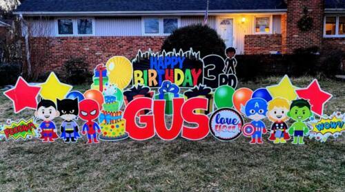 Gus 3rd birthday yard card alexandria va