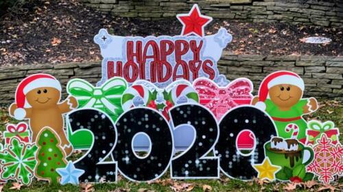 Happy Holidays yard card sign for christmas springfield va