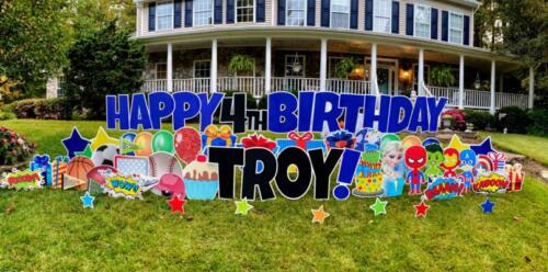 Premium Happy Birthday Yard Sign Springfield VA Troy in Blue