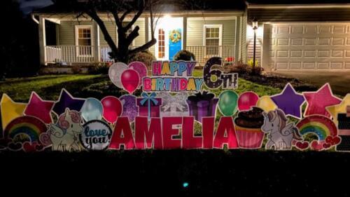 amelia unicorn birthday yard sign annandale va