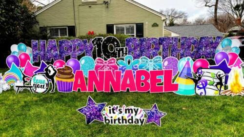 annabel birthday yard sign rental springfield va