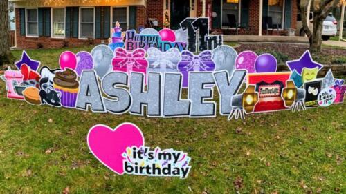 ashley birthday yard sign burke va
