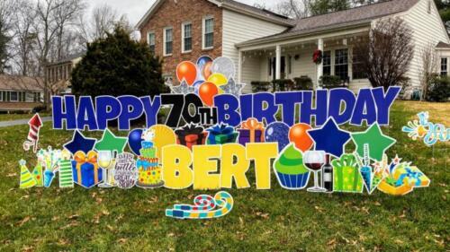 berts 70th birthday yard sign springfield va