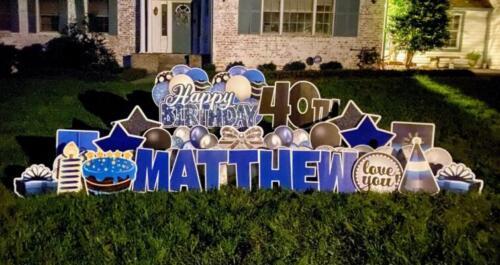 black and blue matthew birthday yard card