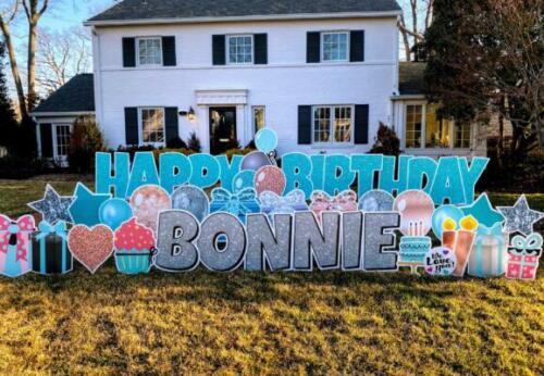bonnie teal and pink birthday yard card alexandria va