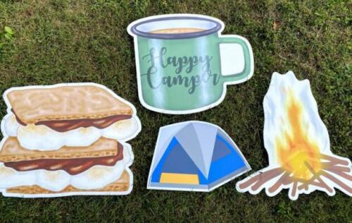 camping yard sign flairs