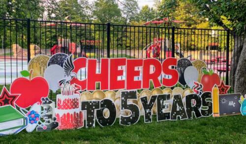 cheers to 5 years school yard card mclean va