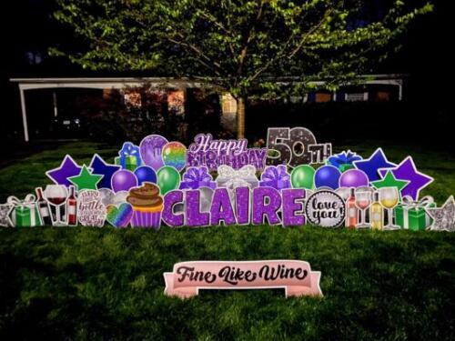 claire's 50th birthday yard sign fairfax va