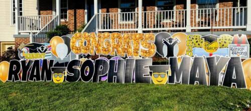 congrats ryan sophie and maya graduation yard sign springfield va