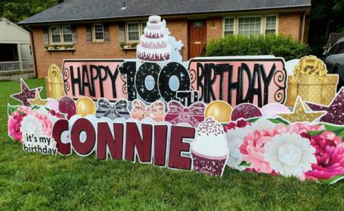connie 100th birthday yard card burke va