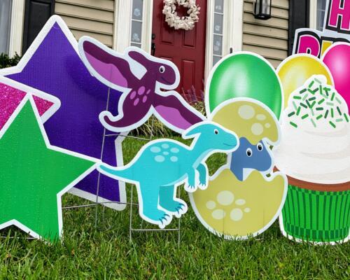 dinosaur themed 3rd birthday yard card springfield, va