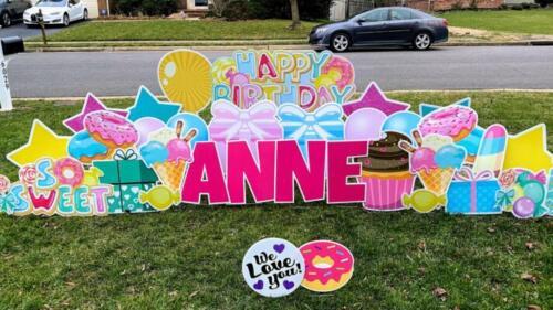 donut birthday yard cards springfield va
