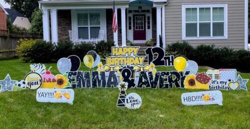 twins birthday yard signs yellow and black happy birthday yard card alexandria va