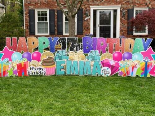 emmas birthday yard sign springfield va