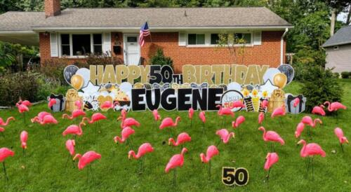 eugene birthday yard sign with flamingos burke va