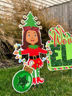 girl elf yard card