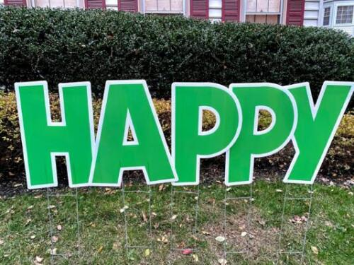 green happy letters for birthday yard signs springfield va