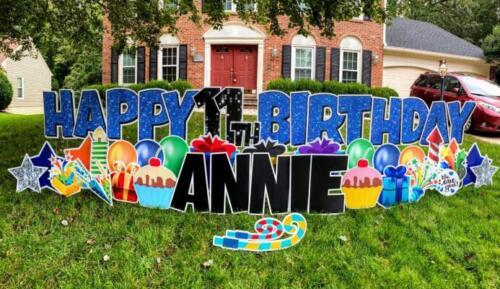 annie 11th happy birthday yard card springfield va