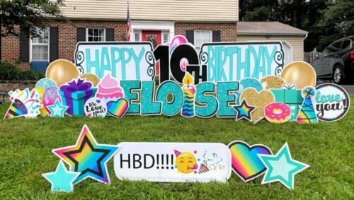 eloise teal and rainbows happy birthday yard card sign west springfield va