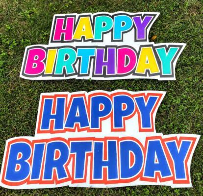 happy birthday yard card signs alexandria va blue and orange and multicolor rainbow