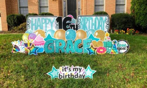 deluxe happy birthday yard card Springfield va