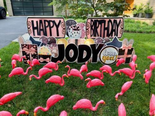 happy birthday jody flamingo flocking yard signs great falls va