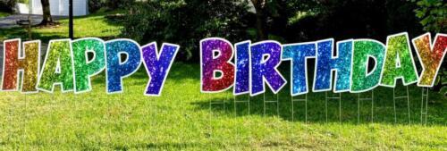rainbow happy birthday yard card letters springfield va