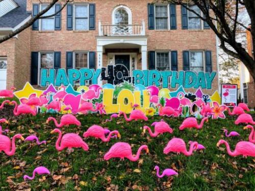 happy birthday yard card flamingos alexandria va