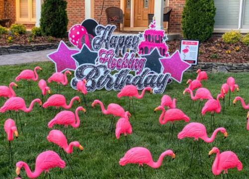 happy flocking birthday yard card burke va