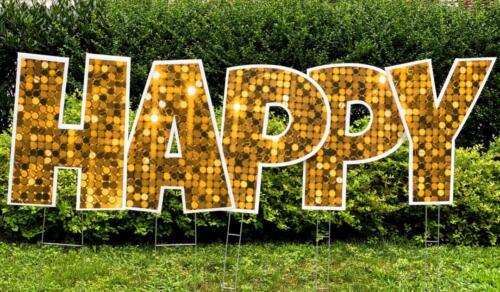 happy yard card in gold glitter