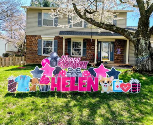 helen's birthday yard card springfield va