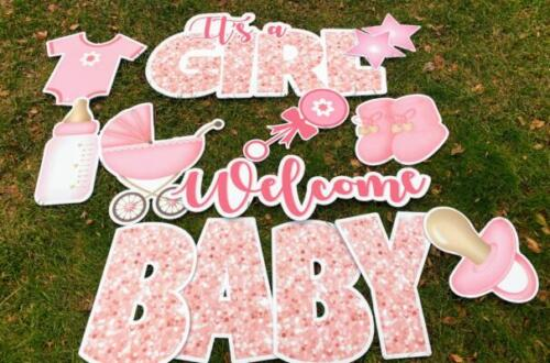 its a girl baby shower yard signs