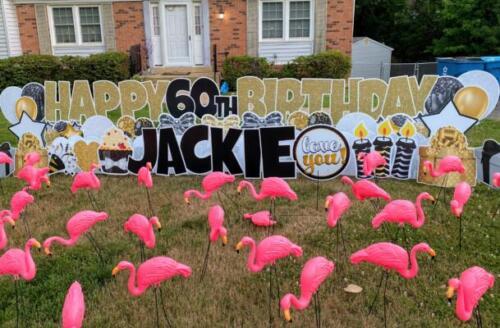 jackie premium flamingo birthday yard sign alexandria va