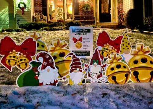 jingled snow yard sign