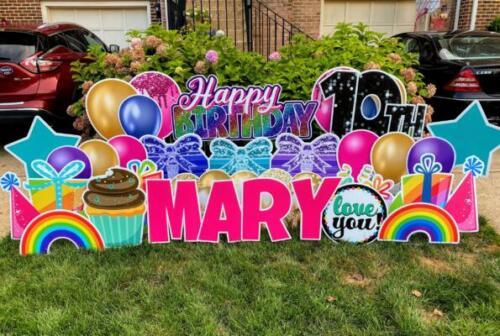 mary rainbow birthday yard sign alexandria va
