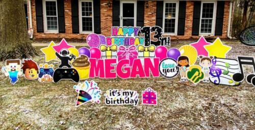 megans birthday yard card springfield va