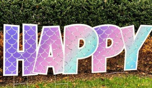 mermaid happy yard sign letters springfield va