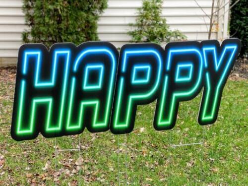 neon happy yard sign letters springfield va